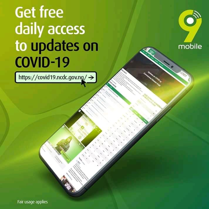 Banner displaying free access to the NCDC portal by 9mobile telecom network