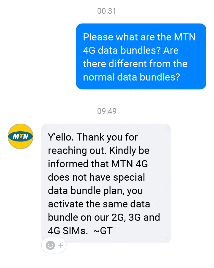 The reply gotten from a representative when asked of the disparity between MTN 4G plans and others data bundles