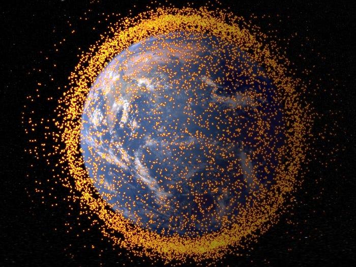 Illustration of space debris