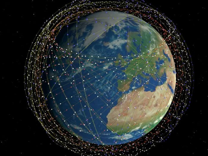 Illustration of constellation of Starlink satellites